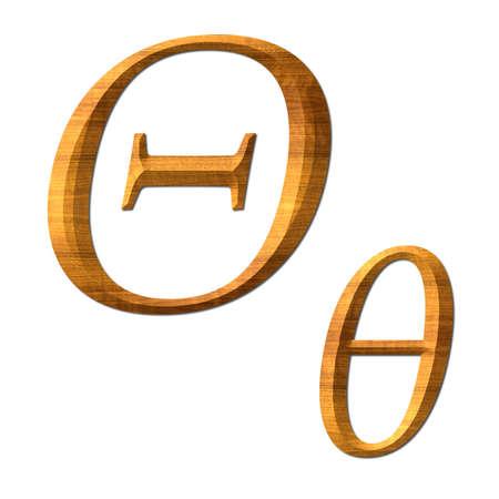 Greek alphabet wooden texture, Thita