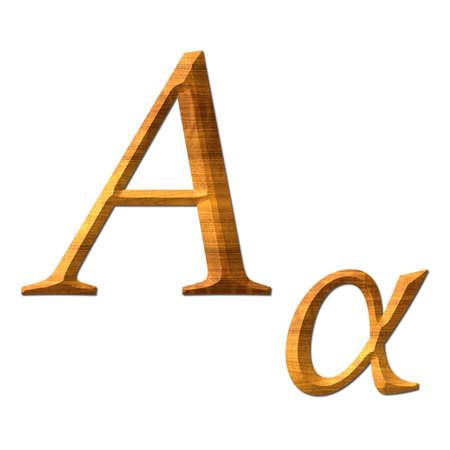 Greek alphabet wooden texture, Alpha Standard-Bild