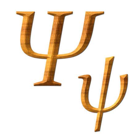 Greek alphabet wooden texture, Psi