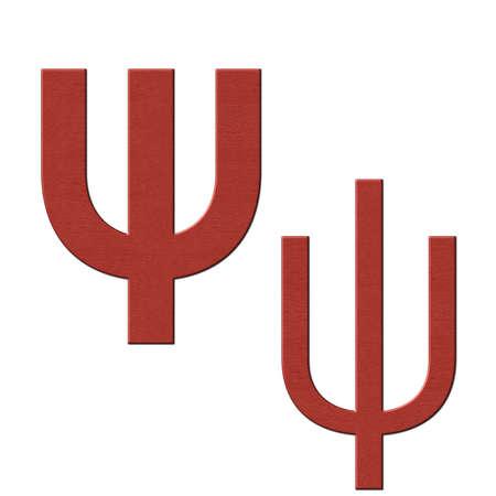 Greek alphabet red leather texture, Psi