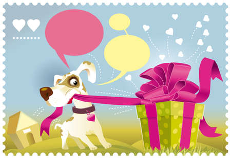 Dog opening a gift Stock Vector - 16412156