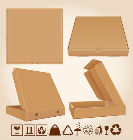Four cardboard pizza box in different positions and packaging icons.