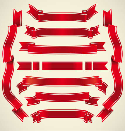 window display: Set of different red vector ribbons for your design