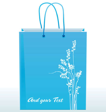 Clear blue shopping bag decorated with white silhouettes of flowers