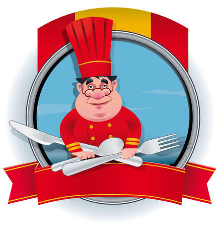 Spanish chef banner file, Illustration contains a transparency.This transparency is on a separate layer from the rest of the artwork and can easily be deleted or turned off. Иллюстрация
