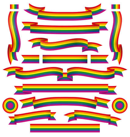 red flag up: Set of different homosexual ribbons pride with correct color scheme.