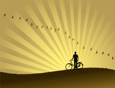 A flock of birds flying through the horizon while a biker is watching  beautiful sunset