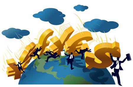 mature men: Symbols Yuan, Yen, Dollar, Pound, Euro falling like a domino on a globe.