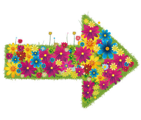 Arrow-shaped grass covered by multicolored flowers Иллюстрация