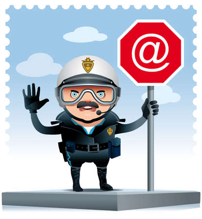 Illustration of a Motorised policeman on a street corner leaning on an Internet signal.