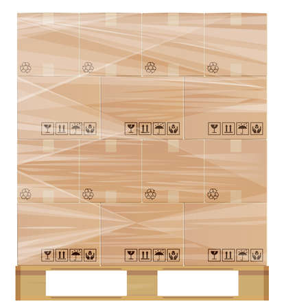 corrugated box: Pallet wrapped with plastic protection. Illustration contains a transparency. This  in a separate layer from the rest of the artwork and can easily be deleted or turned off. Illustration