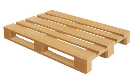 removals: Wooden pallet in perspective, front and side view with dimensions.
