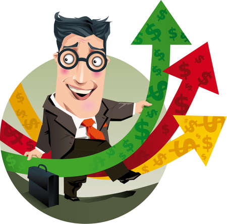 Illustration of a accountant contented with the results of the company