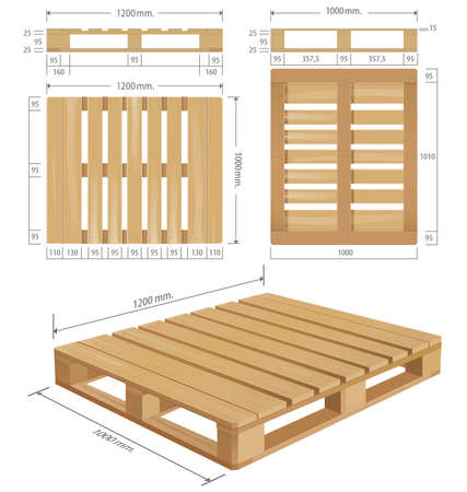 American wooden pallet in perspective, front and side view with dimensions.