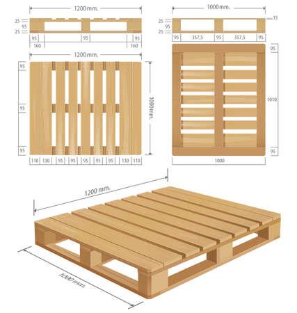 palet de madera americana en perspectiva, vista frontal y lateral con unas dimensiones.