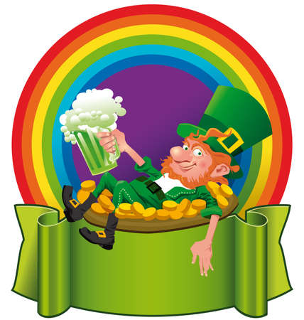 irish culture: A cheerful leprechaun, holding a green beer in front of a rainbow. Illustration