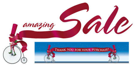 Elf wanders on a antique bicycle with a ribbon that says amazing Sales Also you can place text in this ribbon.