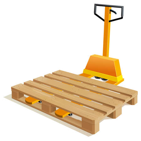 removals: Pallet truck with wooden pallet
