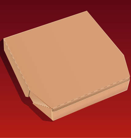 Closed pizza box made ??of cardboard isolated on a red background.
