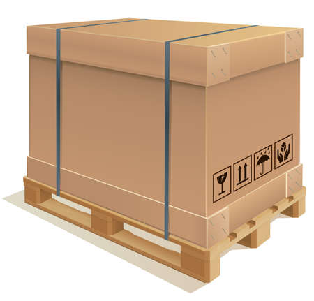 strapping: Cardboard container with wooden pallet