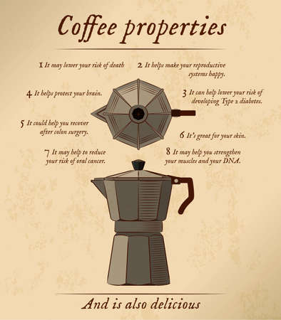 Front and top view of a espresso maker, accompanied by a list of properties and benefits of coffee. Иллюстрация