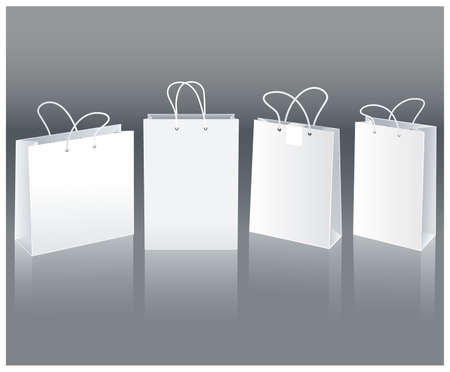 Set of white paper bags in different positions