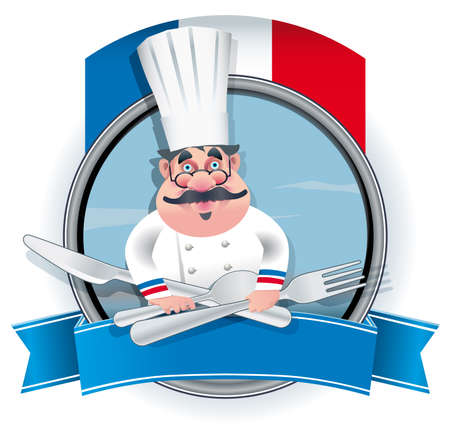 French chef banner, Illustration contains a transparency. This transparency is on a separate layer from the rest of the artwork and can easily be deleted or turned off.