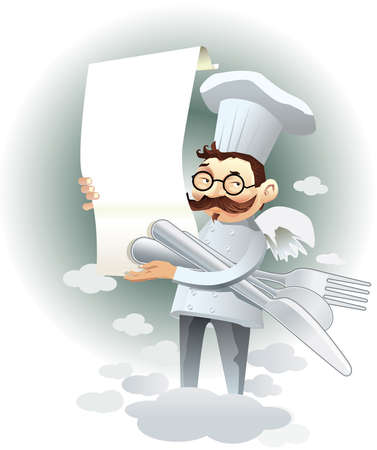 Vector cartoon chef holding a menu and covered over the clouds. Drawing useful to highlight restaurant dishes.