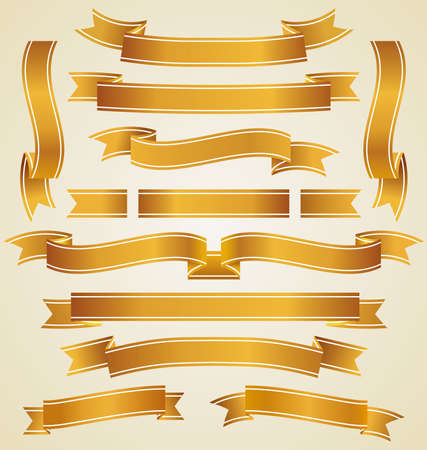 rolled up: Set of golden ribbons Illustration