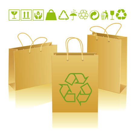 Three paper bags of different sizes and positions with ecological icons Иллюстрация