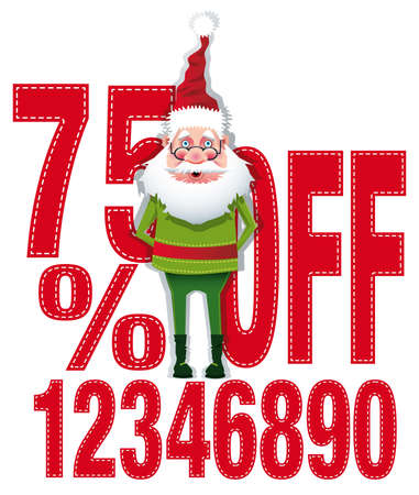 Santa with different percentages of discounts. Scalable  vector