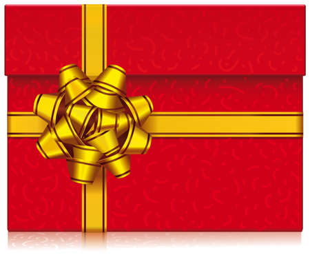 Gift box with lid wrapped in a gold ribbon 310mm. Wide x 376mm. Height  scalable  vector