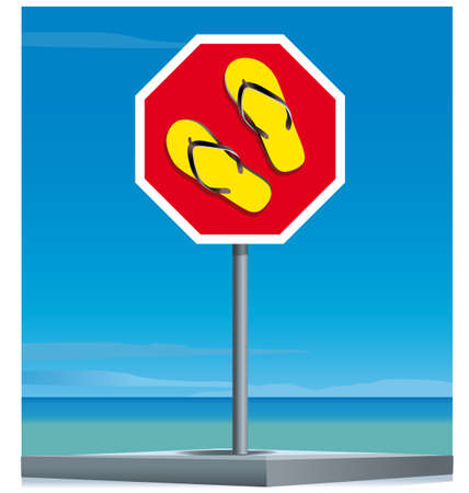 Signal drawing flip-flops with a background summer Illustration useful to promote beach holiday.