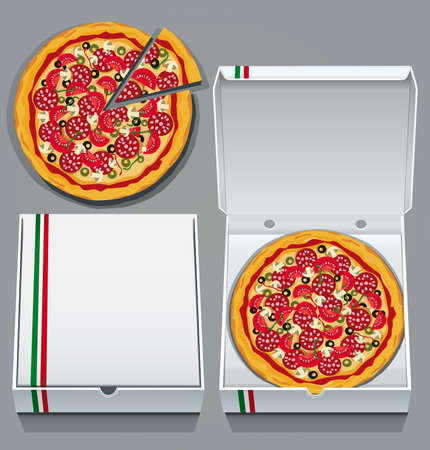 pizza dough: Takeaway pizzas in pizza delivery boxes