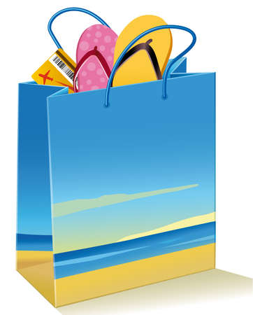 Sandals and flight ticket into a paper bag with a picture of a beach. Useful image to promote holiday packages Иллюстрация