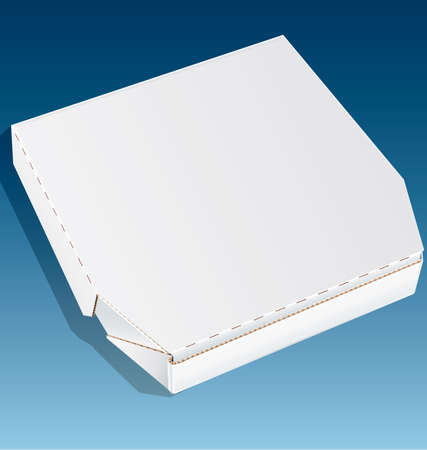 pizza dough: Closed pizza box made of cardboard isolated on a blue background Illustration