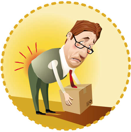 moving office: Man lifting a box incorrectly