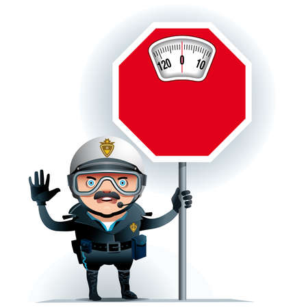 Illustration of a Motorised policeman on  street leaning on a limit overweight signal.Ideal to raise awareness about excess weight