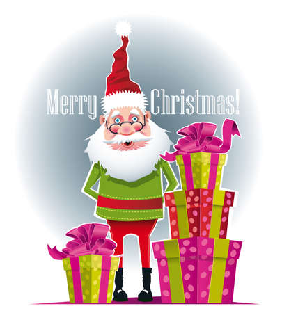 Illustration of Santa Claus with gifts beside him Иллюстрация