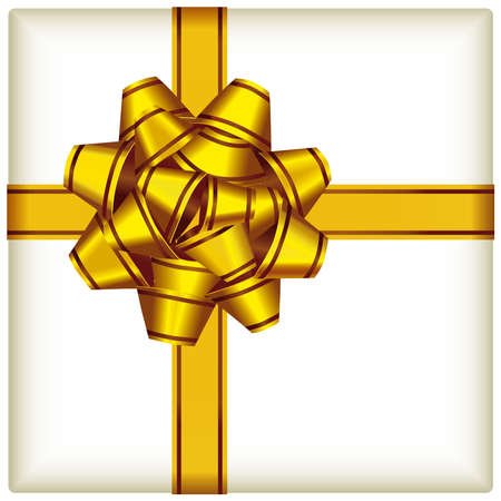 Vector illustration of a gold ribbon on ivory color background.
