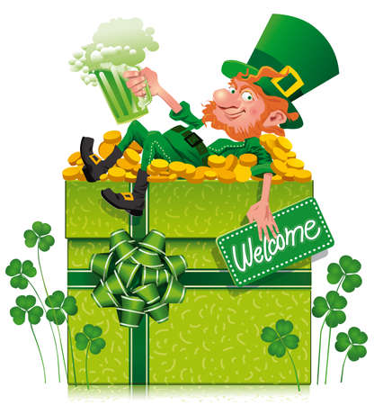 A cheerful leprechaun holding a green beer on a gift boxThis file does not contains transparency Иллюстрация