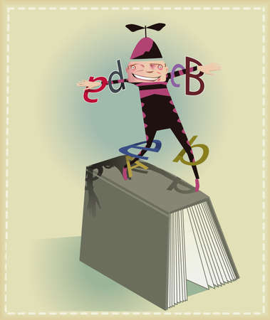 Buffoon making juggling with book letters.