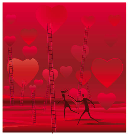 Surreal illustration of couple walking on a bucolic landscape full of hearts and stairs Иллюстрация