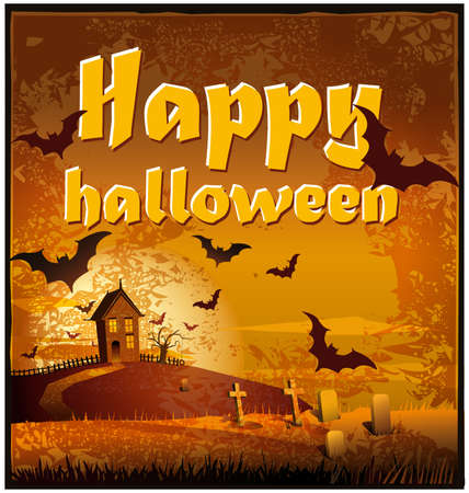 Illustration of a dark landscape with bats useful for the Day of the Dead and HalloweenEPS 10 file, Illustration contains a transparency.This transparency is on a separate layer from the rest of the artwork and can easily be deleted or turned off