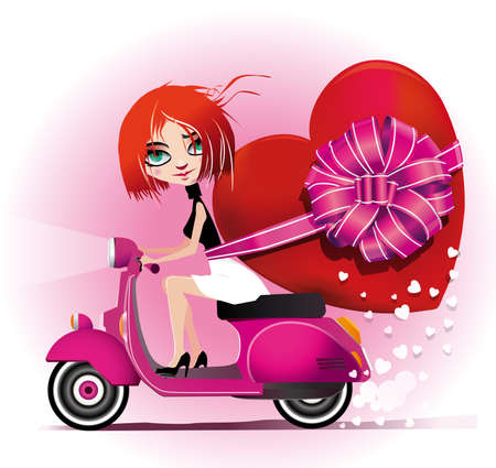 red head girl: Girl riding a motorcycle holding a heart. Illustration