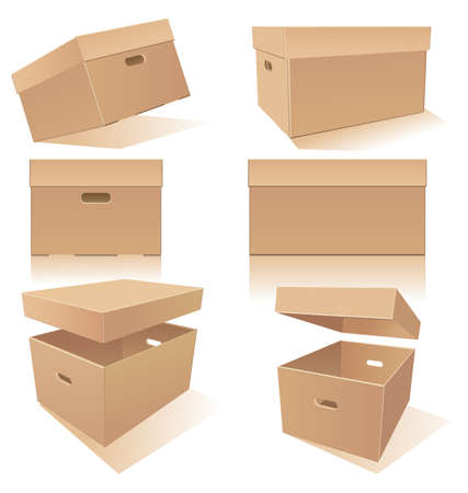 Cardboard boxes set with handles and lids in different positions Иллюстрация