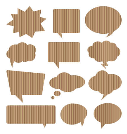 Different types of text balloons made corrugated cardboard. Illustration