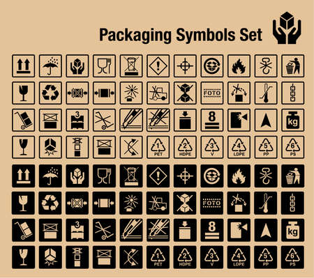 Handling and packing vector icon set, for use on the boxes and packaging