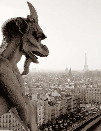 Black and white shot of gargoyle atop Notre Dame Cathedral, Paris, with the Eiffel Tower in the background. photo