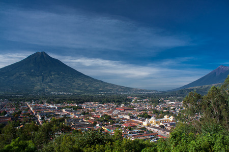 guatemala: Valley of Antigua Guatemala and two volcanos Stock Photo